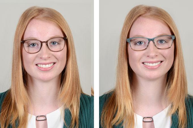 Brillenberatung online: Hier zwei verschiedene Varianten an warmen Farben mit unterschiedlicher Wirkung. Welche gefällt Ihnen am besten? Was machen die Farben mit der Gesamtausstrahlung der jungen Frau?