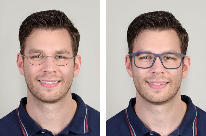 Brillenberatung online: Mit Ihrer Brille beeinflussen Sie auch maßgeblich Ihre Wirkung – wie an den drei Gesellvarianten deutlich wird. Wissen Sie genau, welche Materialien, Gestellstärken und Verzierungen bei einer neuen Brille sinnvoll für Sie sind?